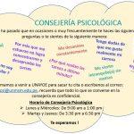 Consejería psicológica gratuita en nuestra facultad