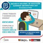 Se realizará Encuesta Nacional de Estudiantes y Egresados 2017