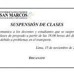 Comunicado: Hoy se suspenden las clases a partir de las seis