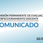 Comunicado de la Comisión Permanente de Evaluación y Perfeccionamiento Docente