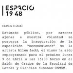 """""""RECONEXIONES"""" en Espacio 19 48 reprogramado para el 9 de abril"""