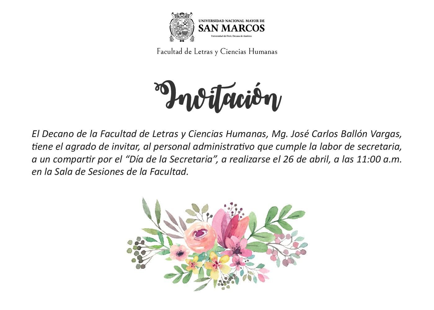 Día De La Secretaria Invitación Al Personal De Letras Letras