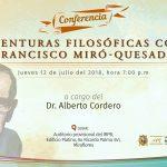 """Conferencia: """"Aventuras Filosóficas con Francisco Miro Quesada"""""""