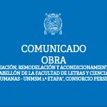 """COMUNICADO: OBRA """"AMPLIACIÓN, REMODELACIÓN Y ACONDICIONAMIENTO DEL PABELLÓN DE LA FACULTAD DE LETRAS Y CIENCIAS HUMANAS – UNMSM 1.ª ETAPA"""", CONSORCIO PERSEO"""