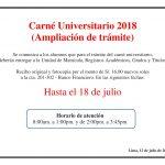 Se extiende el plazo para tramitar el Carné Universitario 2018