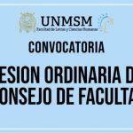 CONSEJO DE FACULTAD SESIÓN ORDINARIA – JUEVES 20 DE JUNIO A LAS 5.00 p.m.