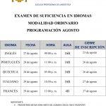 EXAMEN DE SUFICIENCIA EN IDIOMAS MODALIDAD ORDINARIO Y EXTRAORDINARIO PROGRAMACIÓN AGOSTO 2019