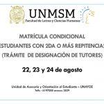 Matrícula Condicional – Trámite de designación de tutores