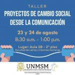 TALLER GRATUITO – PROYECTOS DE CAMBIO SOCIAL DESDE LA COMUNICACIÓN.