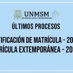 ÚLTIMOS PROCESOS DE MATRÍCULA – Rectificación de Matrícula – 2019-2 – Matrícula Extemporánea – 2019-2