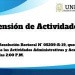 Suspensión de Actividades Administrativas y Académicas – 12/09/2019