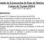 Trámite de exoneración de pago de matrícula de Cursos de Verano 2020-0