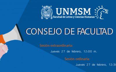 Consejo de Facultad – Sesión Ordinaria y Extraordinaria