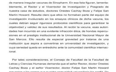 Pronunciamiento del Consejo de Facultad de la Facultad de Letras y Ciencias Humanas de la Universidad Nacional Mayor de San Marcos