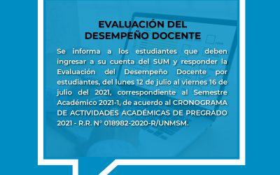 COMUNICADO sobre Evaluación del Desempeño Docente por Estudiantes.