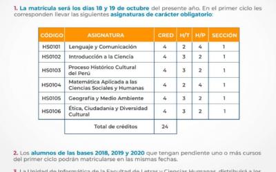Matrícula Semestre Académico 2021-2